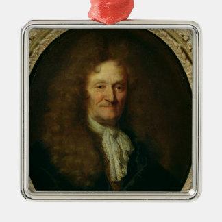 Portrait of Jean de La Fontaine Silver-Colored Square Decoration