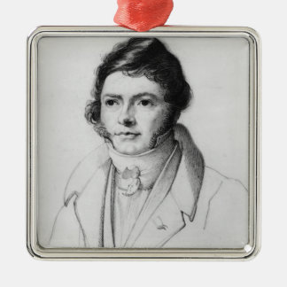 Portrait of Jean-Francois Champollion , 1830 Silver-Colored Square Decoration