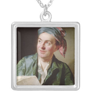 Portrait of Jean-Francois Marmontel  1767 Silver Plated Necklace