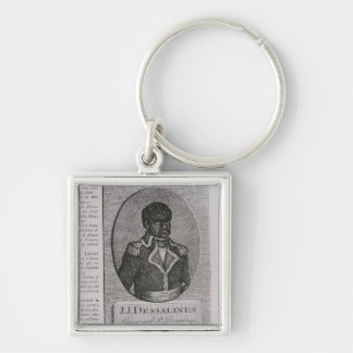 Portrait of Jean-Jacques Dessalines Silver-Colored Square Key Ring
