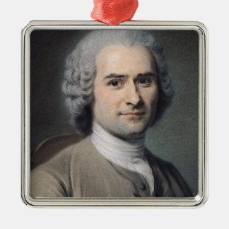 Portrait of Jean Jacques Rousseau Silver-Colored Square Decoration