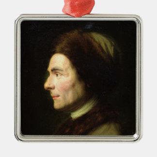 Portrait of Jean-Jacques Rousseau Silver-Colored Square Decoration