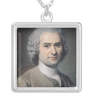 Portrait of Jean Jacques Rousseau Silver Plated Necklace