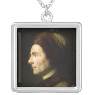 Portrait of Jean-Jacques Rousseau Silver Plated Necklace