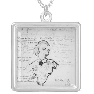 Portrait of Jeanne Duval Silver Plated Necklace