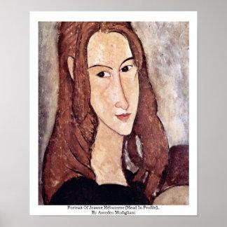Portrait Of Jeanne Hébuterne Head In Profile Print