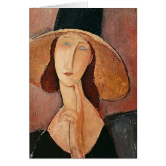 Portrait of Jeanne Hebuterne in a large hat Card