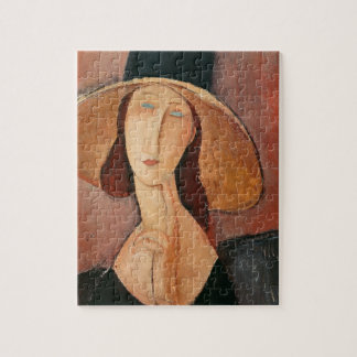 Portrait of Jeanne Hebuterne in a large hat Jigsaw Puzzle