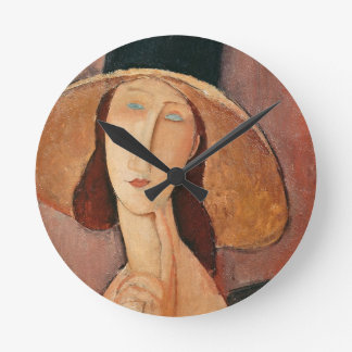 Portrait of Jeanne Hebuterne in a large hat Round Clock
