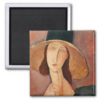 Portrait of Jeanne Hebuterne in a large hat Square Magnet