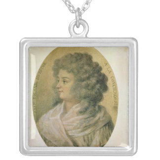 Portrait of Jeanne-Marie Roland de la Platiere Silver Plated Necklace