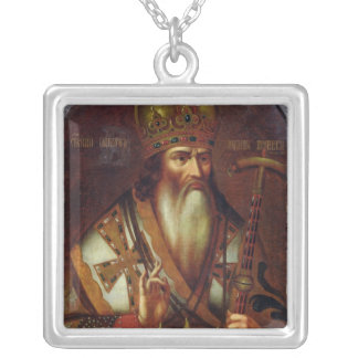 Portrait of Joachim, Patriarch of Moscow Silver Plated Necklace