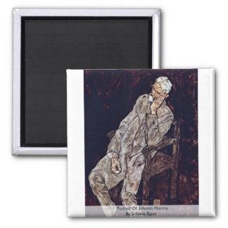 Portrait Of Johann Harms By Schiele Egon Fridge Magnet