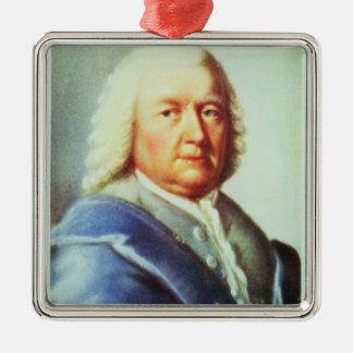 Portrait of Johann Sebastian Bach Silver-Colored Square Decoration