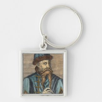 Portrait of Johannes Gutenberg 2 Silver-Colored Square Key Ring