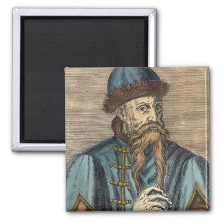 Portrait of Johannes Gutenberg 2 Square Magnet