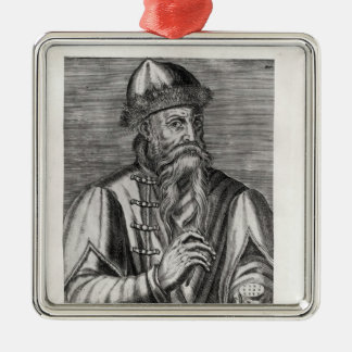 Portrait of Johannes Gutenberg Silver-Colored Square Decoration