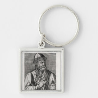 Portrait of Johannes Gutenberg Silver-Colored Square Key Ring