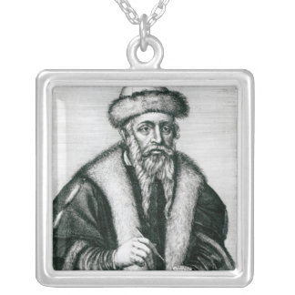 Portrait of Johannes Gutenberg Silver Plated Necklace