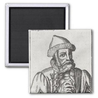 Portrait of Johannes Gutenberg Square Magnet