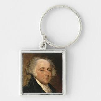 Portrait of John Adams Silver-Colored Square Key Ring