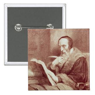 Portrait of John Calvin (1509-1564) (engraving) 15 Cm Square Badge