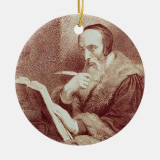 Portrait of John Calvin (1509-1564) (engraving) Christmas Ornament