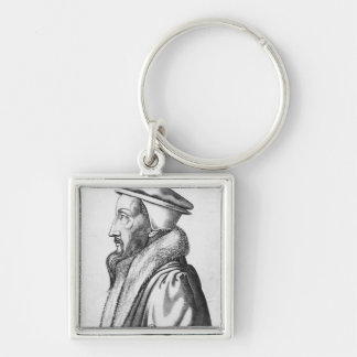 Portrait of John Calvin  aged 53, 1564 Silver-Colored Square Key Ring