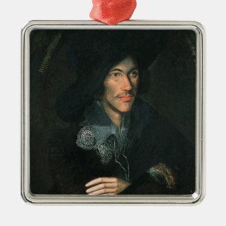 Portrait of John Donne, c.1595 Silver-Colored Square Decoration
