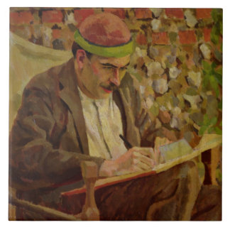 Portrait of John Maynard Keynes (1883-1946) (oil o Large Square Tile