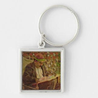 Portrait of John Maynard Keynes (1883-1946) (oil o Silver-Colored Square Key Ring