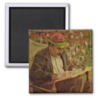 Portrait of John Maynard Keynes (1883-1946) (oil o Square Magnet
