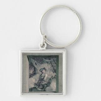 Portrait of John Paul Jones Silver-Colored Square Key Ring