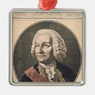 Portrait of Joseph Francis Dupleix Silver-Colored Square Decoration