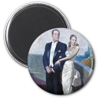 Portrait of Juan Domingo Perón and Eva Duarte 6 Cm Round Magnet