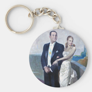 Portrait of Juan Domingo Perón and Eva Duarte Basic Round Button Key Ring