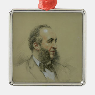 Portrait of Jules Ferry Silver-Colored Square Decoration