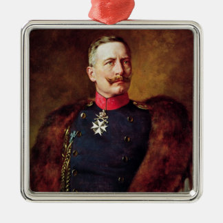 Portrait of Kaiser Wilhelm II Silver-Colored Square Decoration