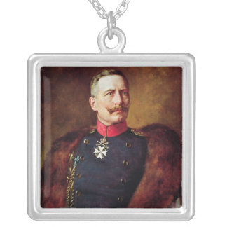 Portrait of Kaiser Wilhelm II Silver Plated Necklace