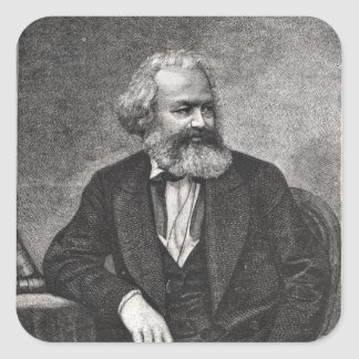 Portrait of Karl Marx  1857 Square Sticker
