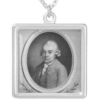 Portrait of Karl Philipp Emmanuel Bach Square Pendant Necklace