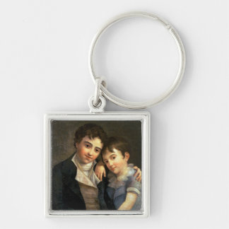 Portrait of Karl Thomas  and Franz Xaver Silver-Colored Square Key Ring