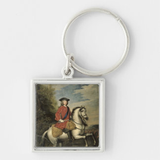 Portrait of King George I, 1717 Silver-Colored Square Key Ring