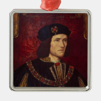 Portrait of King Richard III Silver-Colored Square Decoration