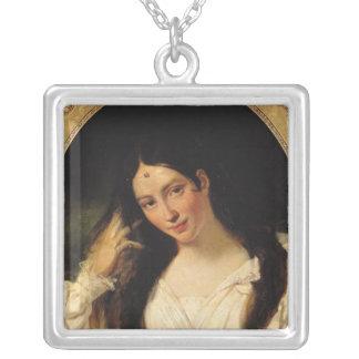 Portrait of 'La Malibran' Square Pendant Necklace