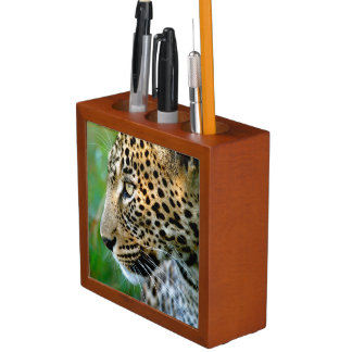 Portrait Of Leopard (Panthera Pardus) Desk Organiser