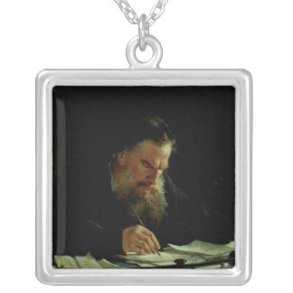 Portrait of Lev Tolstoy Silver Plated Necklace
