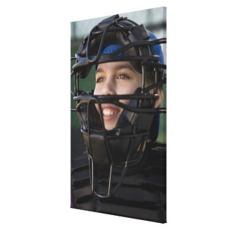 Portrait of little league catcher in mask canvas print