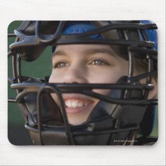 Portrait of little league catcher in mask mouse pad