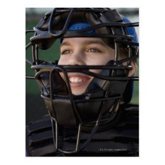 Portrait of little league catcher in mask postcard